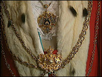 Mayoral robes and chain