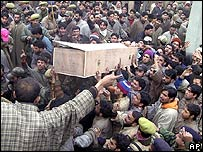 Nazir Ahmed Deka's coffin