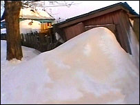 Orange snowdrift in Siberia