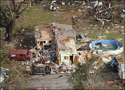 An aerial view of tornado damage in Florida