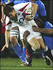 Mike Brown in action for the England Saxons against Italy A