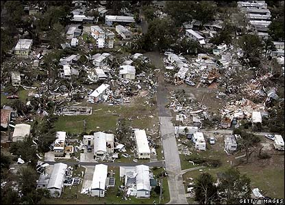 View of the destruction in the town of Lady Lake, Florida.