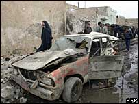 Wreckage of a car bomb in Kirkuk