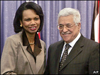 US Secretary of State Condoleezza Rice and Palestinian Authority President Mahmoud Abbas