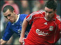 Everton's Leon Osman battles with Liverpool defender Steve Finnan