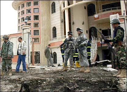 Scene of one of seven car bombings in Kirkuk, 3 February 2007