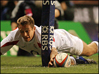 Jonny Wilkinson touches down during England's win over Scotland