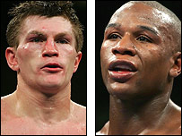 Ricky Hatton (left) and Floyd Mayweather