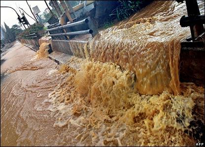 Overflowing river in Jakarta