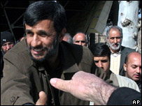 Iranian President Ahmadinejad with crowds