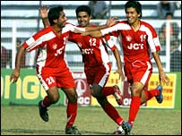 JCT celebrate a goal against Mohammedan Sporting