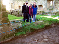 Visitors examine new finds at Bodiam Castle