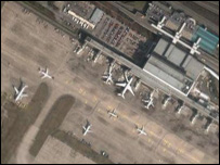 Manchester airport, Digital Globe/Google