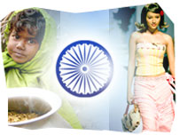 An small Indian child eating from a bowl of rice and an Indian model walking down a catwalk