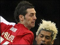 Jamie McAllister in action against Middlesbrough's Abel Xavier