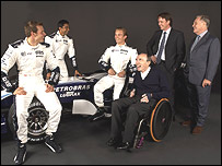 Alexander Wurz, test driver Narain Karthikeyan, Nico Rosberg, team owner Frank Williams, technical director Sam Michael and director of engineering Patrick Head pose with the new Williams-Toyota FW29