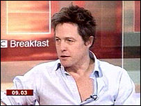 Hugh Grant live in the Breakfast studio