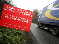 A warning sign on a road close to Bernard Matthews farm in Holton, Suffolk,