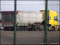 Truck arriving at an incinerator site in Staffordshire