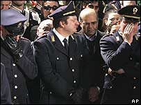 Policemen cry at funeral of Filippo Raciti