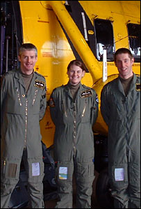 Sqd Ldr Iain MacFarlane, Flt Lt Jane Mannering and Sgt Andy Elwood