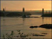 The Britannia Bridge at sunset - photo: Ian Yule, from Anglesey