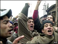 Kashmiris protest during the strike in Srinagar