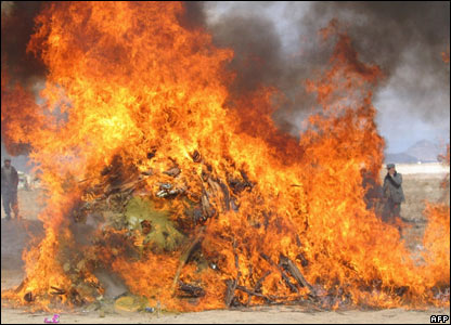 Drugs destroyed in Kandahar, Afghanistan