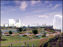 Computer generated image of how the east London area will look after the Olympic development