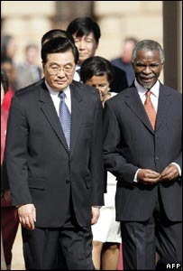 Hu Jintao and Thabo Mbeki in South Africa