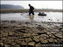 A fisherman drags fish at the drying Dongting Lake on January 11, 2007