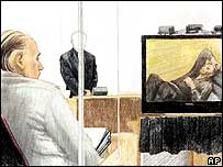 Artists sketch showing Robert Pickton (far left) in court