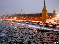 Кремль и лед на Москве-реке
