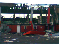 The damaged Belle Vue stadium. Picture taken by BBC Radio Sheffield reporter.