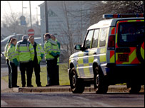 Police at scene of DVLA letter bomb explosion