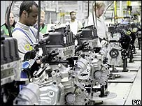 Mini production line at the Cowley car plant, Oxford