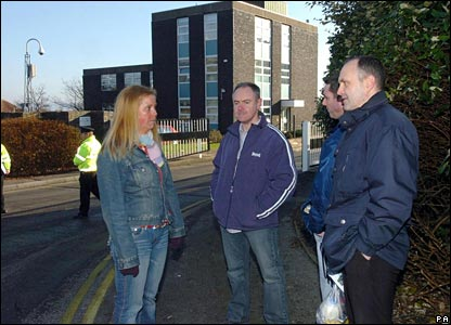 Staff outside Swansea DVLA centre
