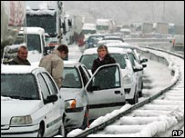 A motorway jam