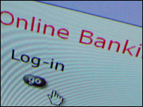 Log-in screen for online bank, BBC