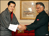 King Jigme Khesar Namgyel Wangchuck (left) meets Indian Home Minister Shivraj Patil