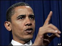 Barack Obama speaks at a press conference, Jan 2007