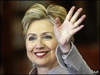 Hillary Clinton waves