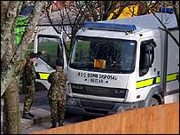 Bomb disposal van at DVLA in Swansea