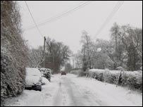 A snowy Oxfordshire lane (Photo by Katherine Waldron)