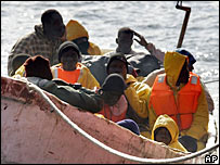 African migrants arriving on the Canary Islands