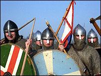 Anglo-Saxon soldiers at Battle of Hastings - BBC reconstruction