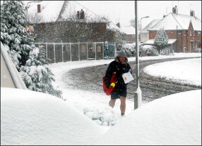 Postman in snow