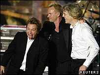 (l to r) Andy Summers, Sting and Stewart Copeland