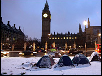 Snow in Parliament Square