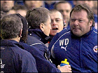 Wally Downes [right] sparked a touchline row against United